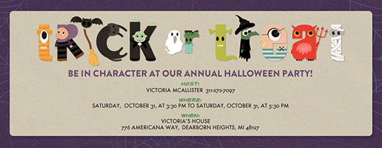 Trick or Treat Letters Invitation