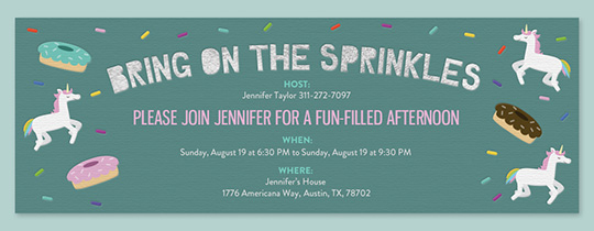 Unicorn Sprinkles Invitation