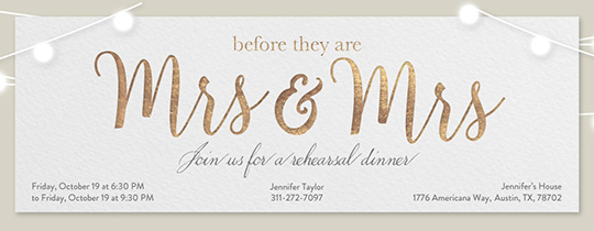 Wedding Mrs Mrs Invitation