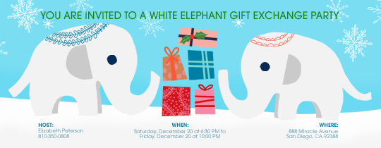 Gift exchange online invitations evite white elephant exchange invitation negle Gallery